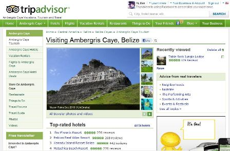 TripAdvisor is the World's Biggest Travel Website, even in Belize and Caribbean