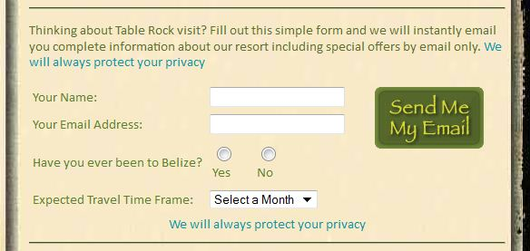 Online Form to Capture Travel Shopper Leads for Belize Hotels